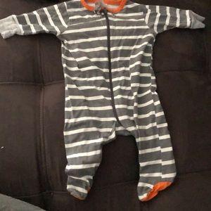 Long sleeve striped zip up onesie